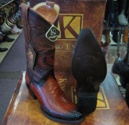 Mens King Exotic Genuine Ostrich Leg Cognac Snip Western Cowboy Boot