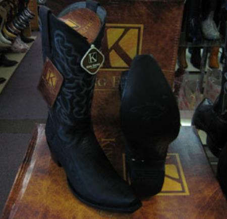 Mens Genuine Ostrich Leg King Exotic Snip Western Cowboy Black Boot