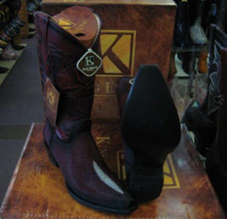 Mens Genuine Stingray King Exotic Snip Toe Cowboy Burgundy Boot