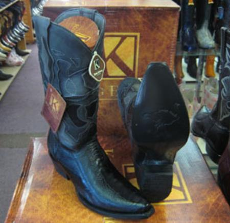 Mens Genuine Ostrich Leg King Exotic Snip Toe Cowboy Black Boot