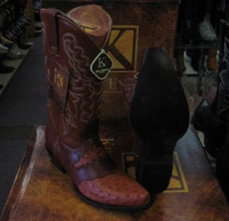 Mens Genuine Ostrich King Exotic Snip Toe Western Cowboy Cognac Boot