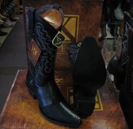 Mens Genuine Stingray King Exotic Snip Toe Western Cowboy Black Boot