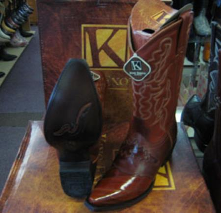 Mens Genuine King Exotic Snip Toe Western Cowboy Cognac Boot