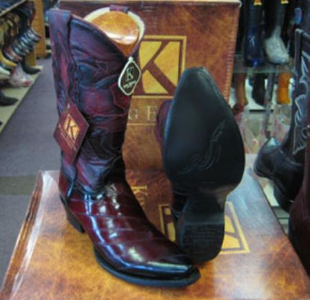 Mens Genuine King Exotic Snip Toe Western Cowboy Burgundy Boot