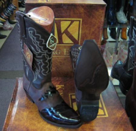 Mens Genuine King Exotic Snip Toe Western Cowboy Brown Boot