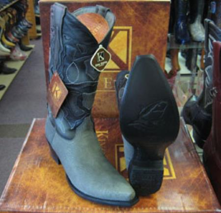 Mens Genuine Shark King Exotic Snip Toe Western Cowboy Gray Boot