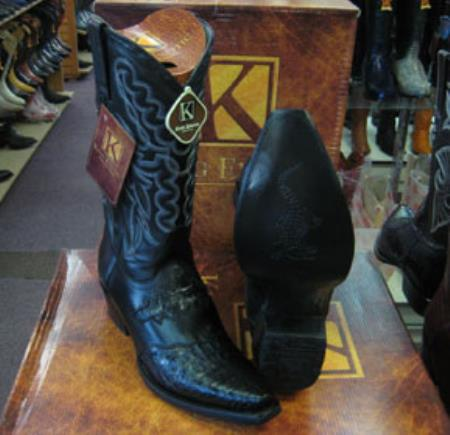 Mens Genuine Crocodile King Exotic Snip Toe Western Cowboy Black Boot