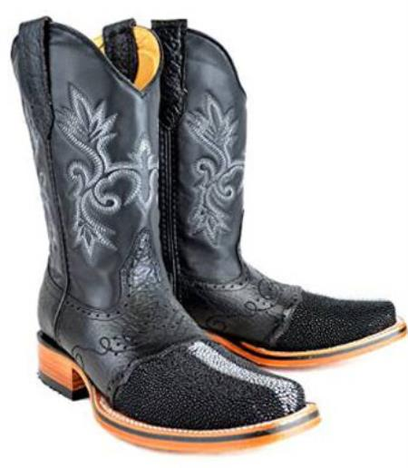 Mens King Exotic Rodeo Full Pearl Stingray Boot Black