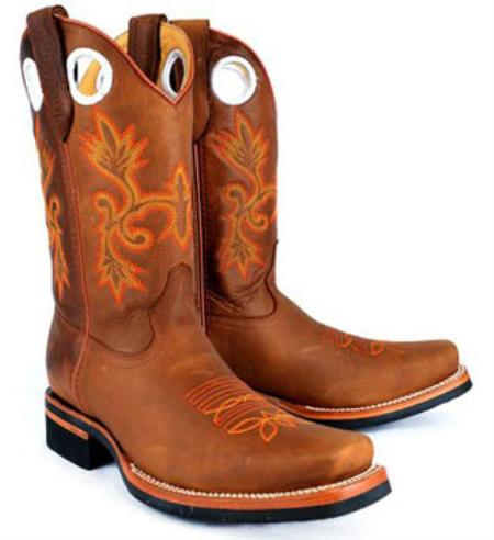 Mens King Exotic Rodeo Style Rage Finish Leather Cognac Boot