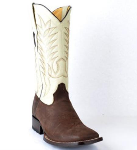 Mens King Exotic Crazy Horse Finish Full Vamp Leather Brown Boot