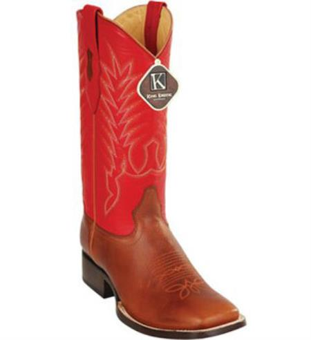Mens King Exotic Square Full Vamp Leather Honey Boot