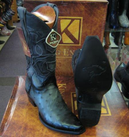 Mens King Exotic Genuine Ostrich Snip Toe Western Cowboy Gray Boot