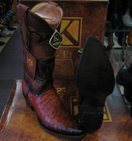 Mens King Exotic Snip Toe Genuine Ostrich Western Cowboy Cognac Boot