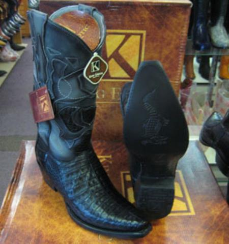 Mens King Exotic Snip Toe Genuine Crocodile Western Cowboy Boot Black