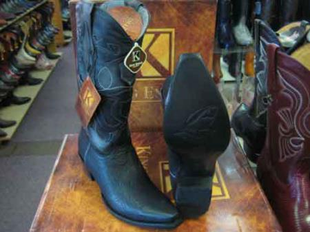 King Exotic Snip Toe Genuine Shark Western Cowboy Boot Black