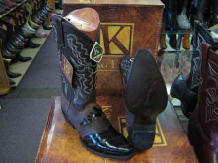 SM164 King Exotic Snip Toe Genuine Skin Cowboy Boot Brown