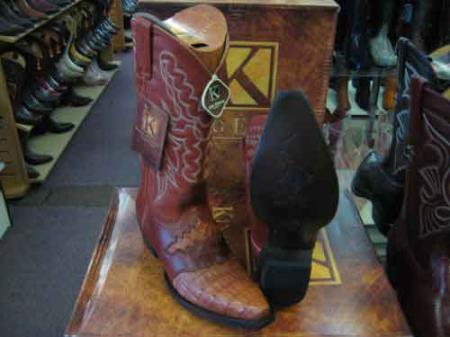 King Exotic Snip Toe Genuine Crocodile Skin Cowboy Boot Cognac