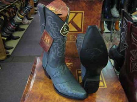 King Exotic Ostrich Skin Snip Toe Genuine Western Cowboy Boot Gray