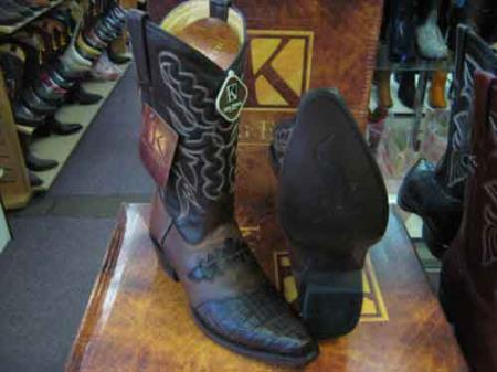 King Exotic Genuine Crocodile Skin Snip Toe Western Cowboy Boot Brown