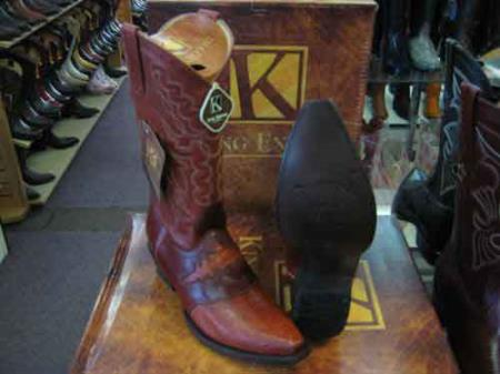 King Exotic Genuine Ostrich Leg Skin Snip Toe Cowboy Boot Cognac