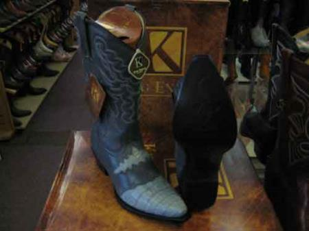 King Exotic Genuine Crocodile Skin Snip Toe Cowboy Boot Gray