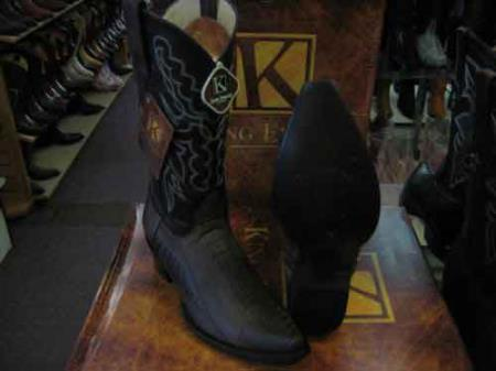 King Exotic Genuine Ostrich Leg Snip Toe Cowboy Boot Brown