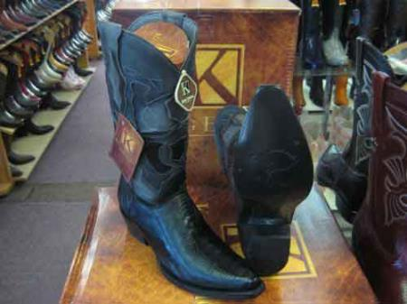 King Exotic Genuine Ostrich Leg Skin Snip Toe Cowboy Boot Black