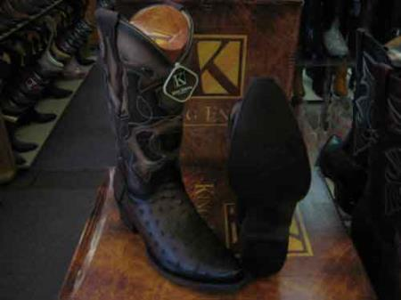 King Exotic Genuine Ostrich Snip Toe Western Cowboy Boot Brown