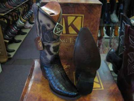 King Exotic Genuine Crocodile Snip Toe Western Cowboy Boot Brown