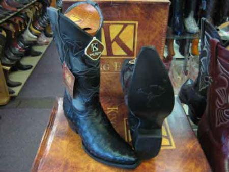 King Exotic Genuine Ostrich Snip Toe Leather Cowboy Boot Black
