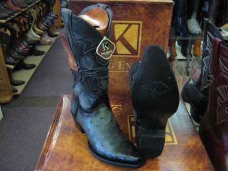 King Exotic Genuine Ostrich Skin Snip Toe Leather Cowboy Boot Gray