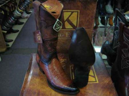 King Exotic Snip Toe Genuine Crocodile Leather Cowboy Boot Cognac