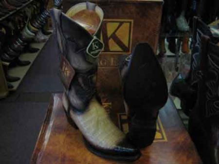 King Exotic Oryx Snip Toe Genuine Crocodile Skin Cowboy Boot Tan