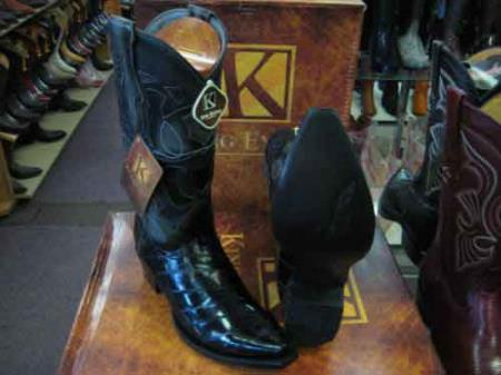 King Exotic Snip Toe Genuinel Skin Leather Cowboy Boot Black