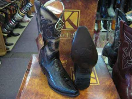 King Exotic Snip Toe Genuine Ostrich Leg Leather Cowboy Boot Brown
