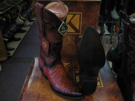 King Exotic Cognac Snip Toe Ostrich Leather Piping Cowboy Boot