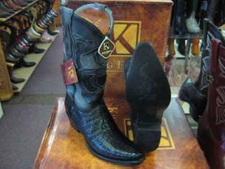 King Exotic Black Snip Toe Genuine Crocodile Leather Cowboy Boot