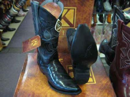 King Exotic Gray Snip Toe Genuinel Leather Piping Cowboy Boot