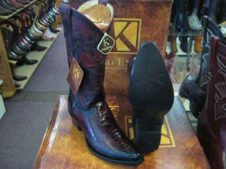 King Exotic Burgundy Snip Toe Genuine Ostrich Leg  Cowboy Boot