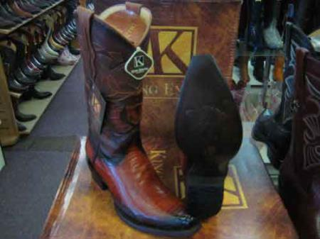King Exotic Snip Toe Genuine Ostrich  Skin Western Cowboy Boot Cognac