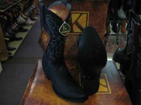 King Exotic Black Cowboy Boot Snip Toe Genuine Ostrich Leg Skin