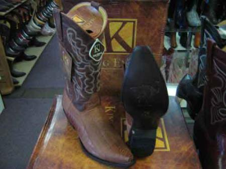 King Exotic Cognac Western Cowboy Boot Snip Toe Genuine Ostrich Leg