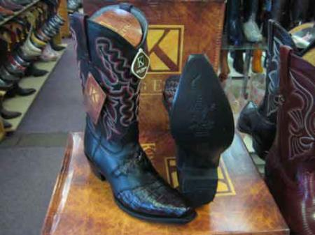 King Exotic Cherry Cowboy Boot Snip Toe Genuine Crocodile Skin