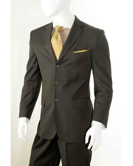 Men's Vintage Style Suits, Classic Suits Three button Banker Chalk Pinstripe  Stripe Pants Athletic Cut Brown $112.00 AT vintagedancer.com