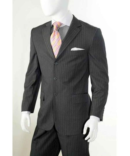 Men's Vintage Style Suits, Classic Suits  Three button Grey Banker Chalk Pinstripe  Stripe Athletic Cut Pants $112.00 AT vintagedancer.com