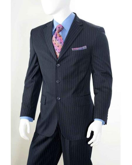 Men's Vintage Style Suits, Classic Suits  Navy Three button Banker Chalk Pinstripe  Stripe Athletic Cut Pants $112.00 AT vintagedancer.com