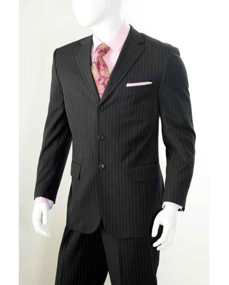 Men's Vintage Style Suits, Classic Suits  Three button 2 Piece Black Banker Chalk Pinstripe  Stripe Athletic $112.00 AT vintagedancer.com
