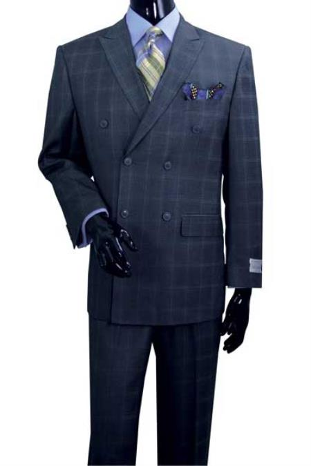 1920s Mens Suits | Gatsby, Gangster, Peaky Blinders  Mens Navy Plaid Double Breasted Peak Lapel 6 Button Suit $151.00 AT vintagedancer.com