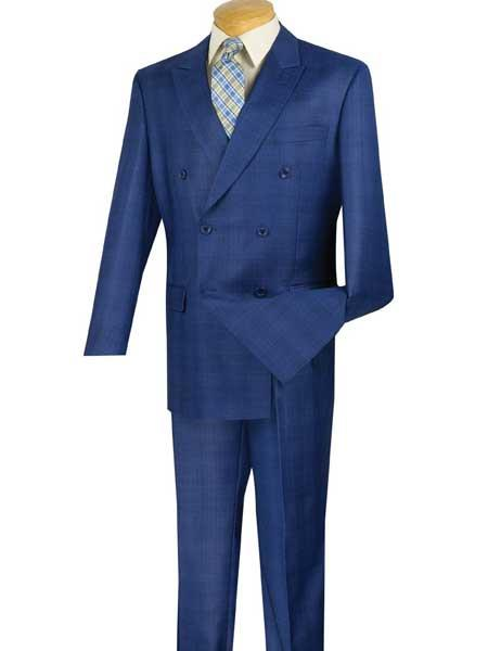 1930s Men's Suits History  Mens 2 Piece Blue Glen Plaid With Side Vent Double Breasted Suit $167.00 AT vintagedancer.com