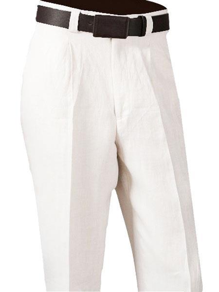 1940s Trousers, Mens Wide Leg Pants  Mens White 100 Linen Single Pleated Pant $72.00 AT vintagedancer.com